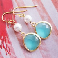 Aqua Blue GOLD EARRINGS White Pearl Wedding Bridal Bridesmaid Gi - Vivian Feiler Designs | Wedding