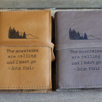 The Mountains are calling standard leather journal