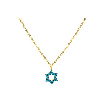 14k Gold Plated Sterling Silver nano Turquoise CZ Star of David Pendant Necklace