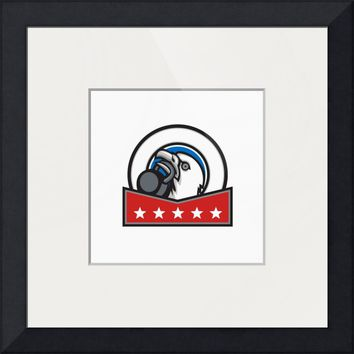 """Bald Eagle Lifting Kettleball Circle Stars Retro"" by Aloysius Patrimonio"