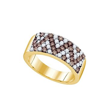 10kt Yellow Gold Womens Round Cognac-brown Colored Diamond Chevron Band Ring 1.00 Cttw