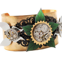 Steampunk Woodland Cuff Brass Clockwork Butterfly by kodashii88