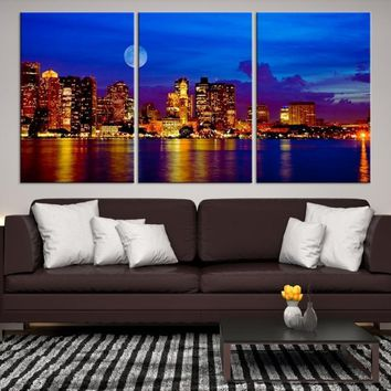 54332 - Blue Night Boston City and Moon Decorative Wall Art Canvas Print