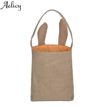 Aelicy Hot selling Cute Rabbit Ear Gift Bags For Candy Snack Baking Package Event Party Supplies Jute Shoulder Bag Vintage