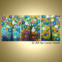 Original Abstract Painting RAINING FLOWERS Modern by LUIZAVIZOLI