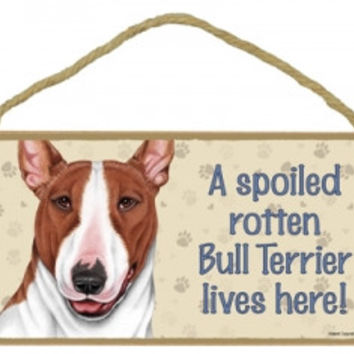 A Spoiled Rotten Bull Terrier Lives Here Dog Plaque