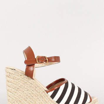 Stripe Canvas Peep Toe Espadrille Platform Wedge