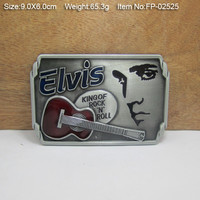Elvis Presley King Of Rock&Roll Cowboys Cowgirls Metal Belt Buckle Texas Fashion Mens Western Badge Feathers Native