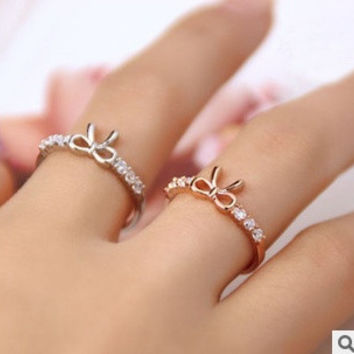 2 pcs/set(gold/silver) New Korean Jewelry Simple diamond Imitation women ring crystal Bow Girl Ring = 1669292804