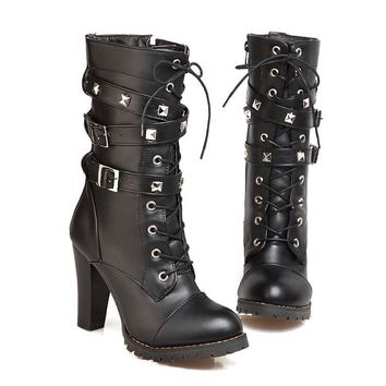 Winter Motorcycle Boots Women's Chunky Heel Platform Leather Sexy Mid-calf Boots Plus Size 34-47