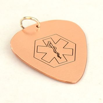 Copper Medical Alert Guitar Pick with Personalized Alerts and Allergies