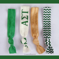 ALPHA SIGMA TAU Sorority Elastic Hair Ties - No Bump, Yoga Hair Ties, Blue Chevron, Hair Bands, Can choose colors