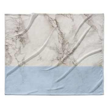 """Suzanne Carter """"Marble And Blue Block"""" Modern Gray Fleece Throw Blanket"""