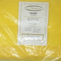 Vintage Yellow Chatham Crown Polyester Blanket Swiss Dot Trim 72 by 90 Inches