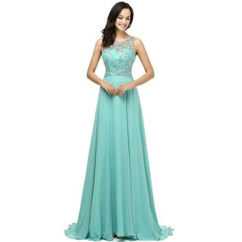 Beauty Chiffon Beading Sleeveless Scoop Neck Long Prom Dresses A Line Open Back Floor Length Prom Dress