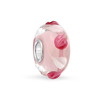 Petal Pink Floral 3D Lamp Murano Glass Sterling Silver Bead Charm