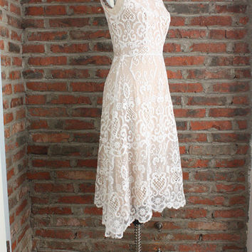 Lace Tea Length Prom Dress,Short Party Dress,Elegant Women Dress Lace,Simple Lace Dress A line,Boutique White Evening Dress