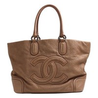 Auth CHANEL Women leather tote bag
