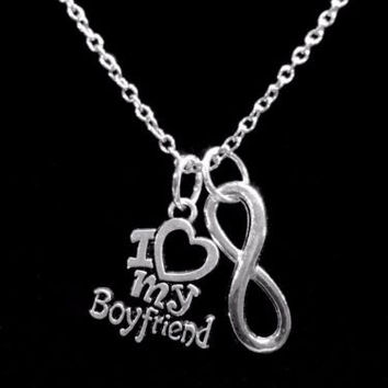 I Love My Boyfriend Gift Girlfriend Anniversary Infinity Charm Necklace