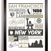 City Life Typography 8 x 10 Print New York Las Vegas El Paso Los Angeles Austin San Francisco Chicago Buy 2 Get 1 FREE