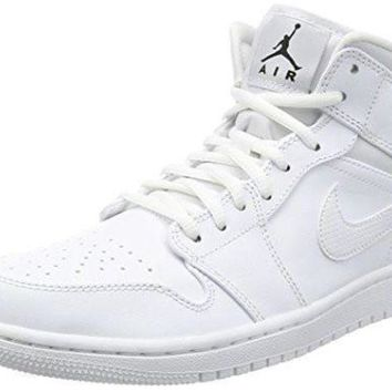 DCK7YE Nike Jordan Men's Air Jordan 1 Mid White/Black/White Basketball Shoe 10.5 Men US