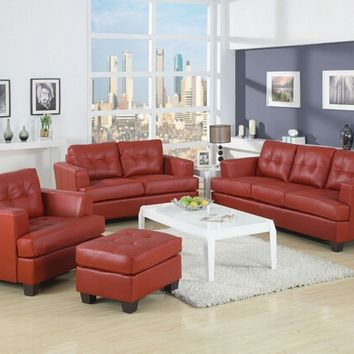 3 pc Diamond Red bonded leather match sofa, love seat and chair with squared padded arms and tufted back and seats