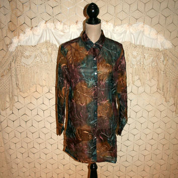 Silk Blouse Sheer Tunic Long Shirt Embroidered Hippie Top Bohemian Clothing Long Sleeve Button Up Teal Rust Chicos Womens Vintage Clothing