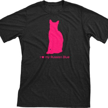 I Love My Russian Blue | Must Love Cats® Hot Pink On Black Short Sleeve T-Shirt