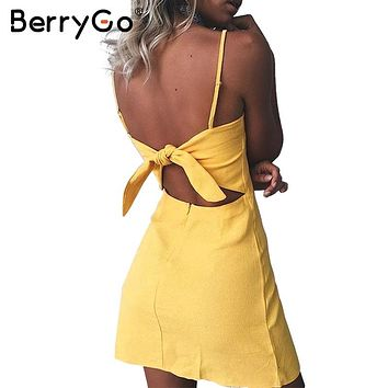 BerryGo Bow casual linen dress Backless Bohemian  beach summer dress women sundress Slim fit bodycon white short dress vestidos