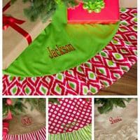 "Personalized With Embroidery 48"" Christmas Tree Skirt In Polka Dots, Strip, Juco, or Ikat Personalization Free"