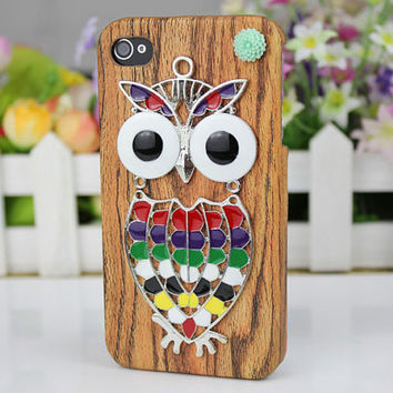 Yellow  Wood Grain  Hard Case With Cute Owl, Brass Branch for Apple iPhone 4 4g/4s