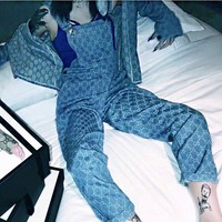 Gucci Overalls Hot Sale Gucci Jumper Romper Fashion Women Men Casual Loose Overalls Jumpsuit B/A Blue