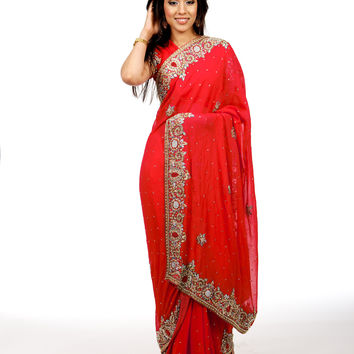 Rich Pink Indian Wedding Sari