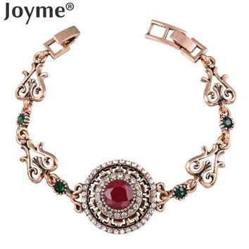 New Fashion Indian African Jewelry Ethnic Smart Red /Green Resin Round Turquoise Bracelet Female Gold Armbanden Voor Vrouwen