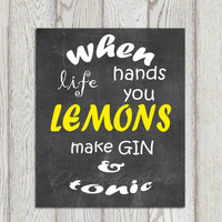 Yellow gray wall art print Home decor typography Inspirational sighn Chalkboard When life hands you lemons Kitchen decor Instant Doanload
