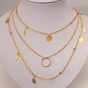 Popular Multi Leaves Coins Bar Black Crystal Pendant 3 Three Layer Chain Choker Necklace Girl Bijoux Accessories