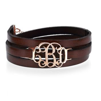 Leather Wrap Bracelet with Monogram - Rose Gold