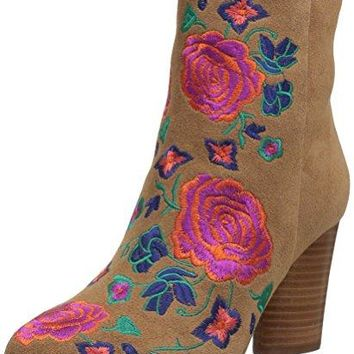 Women's Oval Heel Ankle Bootie The Fix Nash Floral Embroidery
