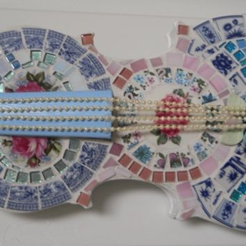 Handmade Shabby Chic Mosaic Violin broken cut china plate mosaic violin