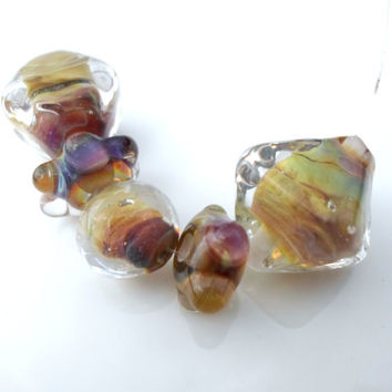 Handmade Lampwork Beads, Raku Chrystal Glass Beads, Handmade Supplies for Modern Lampwork Jewelry