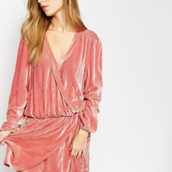 Ganni Wrap Dress in Silk Velvet