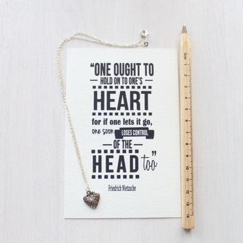 "Heart Necklace - Gift Set with Quote Print - ""One ought to hold on to one's heart..."" Friedrich Nietzsche Quote Print - Gorgeous Packaging"