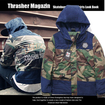 Thrasher Cotton Apparel Fashion Camouflage Patchwork Jacket [9588193159]