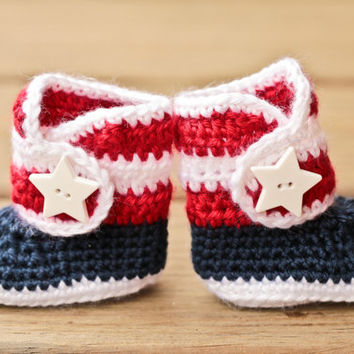Fourth of July Baby Booties Star - Red White and Blue Baby Boots - 4th of July Baby Shoes - Patriotic America Newborn Booties - Crochet Baby