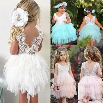 USA Newborn Baby Girls Lace Tulle Party Pageant Dress Prom Bridesmaid Dress lxjn