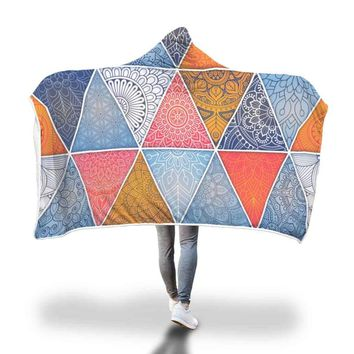 Boho Triangle Design Hooded Blanket by Bare Culture Apparel