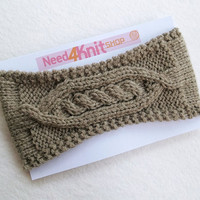 Hand Knitted Women Headband in Beige Taupe,Handmade Headband,Warm Head Wrap,Ear Warmer,Winter Hair Band,Knit Women Accessory,FREE SHIPPING