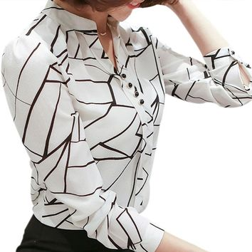 Women Chiffon Blouse Shirt 2018 Female Clothing Long Sleeve Blusas Chiffon Women's Office Blouses Print Striped Dot Lady OL Top