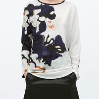 Color Block Floral Print Long Sleeve Chiffon Shirt