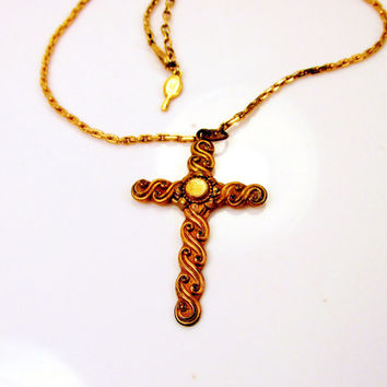 Victorian Cross Gold Gilt Over Brass Cross Pendant Necklace Art Nouveau Design OLD JEWELRY Christian Cross Collectible Gift Resale Item 767